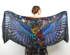 Wings scarf, bohemian bird feathers shawl, Onyx, hand painted, digital print, wrap sarong, perfect gift