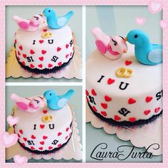 Engagement cake fondant- he asked and she said yes- turtledoves - hearts- rings