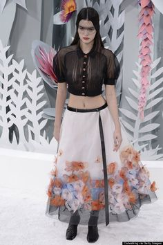 Kendall Jenner For Chanel Paris Fashion Week Show... LOOK at the cool monochrome set piece! Inspiration for window dressing?