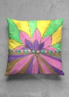 Accent Pillow - Matte Square - Lotus in Rainbow by VIDA Original Artist Pillow Inserts, Pillow Covers, Accent Pillows, Throw Pillows, Vida Design, Lotus, Organic Cotton, Create Yourself, Original Art