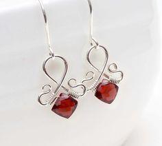 Garnet earrings wire wrapped dark red by CreativityJewellery, $55.00