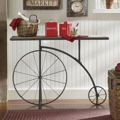 Penny-Farthing Console from Through the Country Door® perfect for the right country home. Welded Furniture, Pipe Furniture, Accent Furniture, Industrial Furniture, Furniture Design, Bicycle Decor, Penny Farthing, Home Decor Inspiration, Console Table