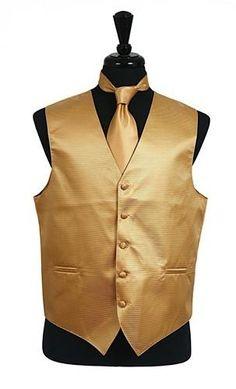 Wedding Vest, Wedding Suits, Wedding Attire, Gold Vests, Mens Suit Vest, Tuxedo Vest, Vest And Tie, Vest Pattern, Tie Set