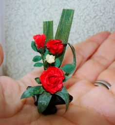 CHRISTMAS in JULY- Price Reduction ! Ikebana Rose arrangement  OOAK  CHRISTMAS in JULY by beauxminis, $14.00