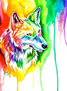 Women Spring Summer Oil Paint Wolf T-shirt Black Friday Back To School Happy Birthday Fashion Present Colorful Drawings, Cool Drawings, Wolf Pictures, Anime Wolf, Colorful Animals, Arte Pop, Art Plastique, Animal Paintings, Amazing Art