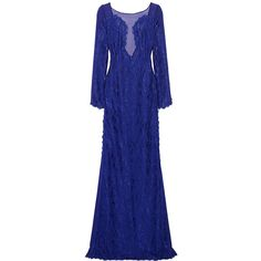Emilio Pucci Guipure lace and chiffon gown (£1,017) ❤ liked on Polyvore featuring dresses, gowns, emilio pucci, long dress, royal blue, long blue dress, lace dress, long dresses, long evening dresses and long evening gowns