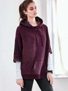 It may be summer, but chilly blasts from the AC make an easy layer (like this supersoft tunic!) an essential. | Victoria's Secret Fleece Short-Sleeve Hooded Tunic