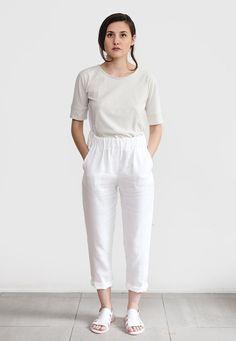 c16cad9701 White linen pants loose linen trousers Washed women linen Linen Trousers