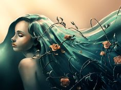 "Cyril Rolando, ""Troubles"".  I don't so much like her face as I love her water hair and roses."