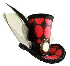 """Queen Of Heart Red Chess Checkered Mini Top Hat Headband Alice in Wonderland  Height of hat is 3"""". Handmade Rare Item. Paper Art. Not Washable.  Fascinator for Steampunk, Gothic, Victorian Costume, Burlesque, Circus, Vaudeville or Sideshow  Cocktail Mini Top Hat for Halloween, Christmas, Birthday, Wedding, Cosplay  Dress up for Bride, Bridesmaid, Newborn, Kids, Doll and Animal  Inspired by Mad Hatter Tea Party of Alice in wonderland"""