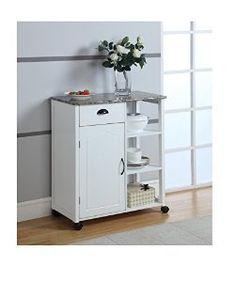 Amazon.com: Kings Brand White Finish Wood & Marble Vinyl Top Kitchen Storage Cabinet Cart: Kitchen & Dining