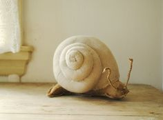 Giant snail soft sculpture / upcycled / textile art by willowynn