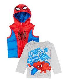 Look what I found on #zulily! Spider-Man Red Hooded Vest & Gray Tee - Toddler #zulilyfinds