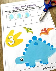 Are you looking for Dinosaur theme counting activities for your Dinosaur lover kids? This NO-PREP Dinosaur Math Preschool and Kindergarten is perfect for you! Jam-packed with adorable Dinosaurs cut & paste activities and 10-frames counting, your Dinosaur obsessed kids will definitely love this pack. Dinosaur Printables, Dinosaur Activities, Counting Activities, Math Games, Learning Numbers Preschool, Subtraction Activities, 10 Frame, Dinosaurs, Homeschooling