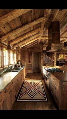 cabin style home ~ cabin style ; cabin style home ; cabin style home exterior ; Cabin Interiors, Rustic Interiors, Log Cabin Homes, Log Cabins, Barn Homes, Cabins And Cottages, Cabins In The Woods, Rustic Kitchen, Kitchen Rug