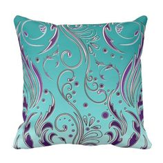 JudyChu Home Decoration Turquoise Purple swirl Throw Pillow Size inches Turquoise Throw Pillows, Gold Pillows, Diy Pillows, Custom Pillows, Turquoise Curtains, Teal Cushions, Personalized Pillows, Sewing Pillows, Throw Cushions