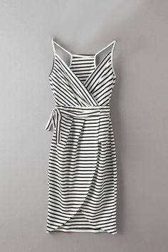 Wrap Front Stripe Pattern Irregular Hem Midi Dress with Belt -YOINS