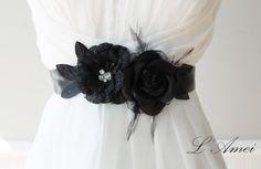 Black bridal sash wedding sash black Rhinestone lace flower sash,Black Feather Flower wedding belt