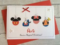 Handmade Personalised Christmas Card: Cute Disney Bauble (Daughter Son Family) Disney Christmas Cards, Personalised Christmas Cards, Magical Christmas, Holiday Cards, Holiday Decor, Disney Diy, Cute Disney, Bauble, Stationery