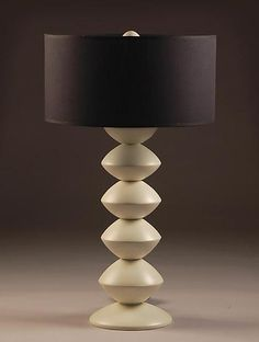 Luna Table Lamp by Kyle Dallman. Lathe *turned* wood table lamp shown in bone color with black lampshade. Full range dimmer accepts up to 100 watt standard light bulbs. Table Lamp Wood, Wooden Lamp, Wood Chandelier, Studio Furniture, Wood Home Decor, Black Lamps, Lamp Sets, Lamp Design, Wood And Metal
