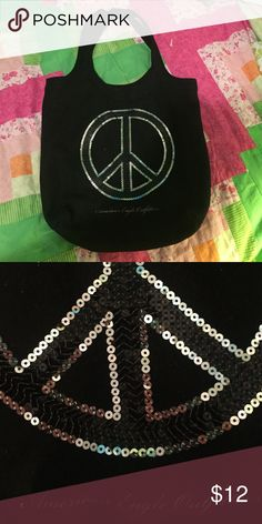 American Eagle Black Bag with Silver Peace Sign. Love this bag, great for college or high school or anywhere. goes with most outfits! American Eagle Outfitters Bags Totes