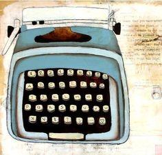 Typewriter art Print 5x7 - My Little Blue Typewriter. $10.00, via Etsy.