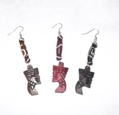Buy these Nefertiti Bone Earrings. Ancient Hand Carved Nefertiti Bone Earrings are length, hollow tube beading; comes in Brown, Black, and Red. Ancient Egypt, Ancient History, Charm Jewelry, Jewlery, Queen Nefertiti, Woman Cave, Craft Things, Egyptian Goddess, Beaded Bags