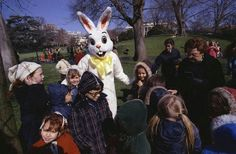 The Easter Bunny makes an appearance at the Annual White House Easter Egg Roll, March 31, 1975, during the Gerald Ford administration.