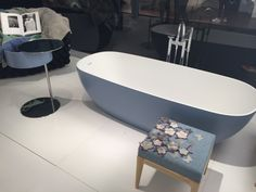 Most popular accent colour, blue emphasises the crisp white interior of the two toned bath Decor Interior Design, Interior Decorating, Colour Story, Bathroom Trends, Table Storage, Accent Colors, Multifunctional, Color Trends, Home Furnishings