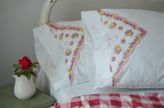 Vintage Pillow Cases Pair  Pink Flower by theprimitivehome on Etsy, $39.00