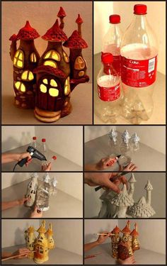 Fairy house made from coke bottles