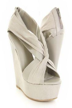 67b3cbef9 Light Grey Faux Suede Faux Leather Twist Cross Strap Platform Wedges   Sexy  Clubwear