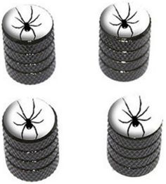 """Amazon.com : (4 Count) Cool and Custom """"Diamond Etching Spider Top with Easy Grip Texture"""" Tire Wheel Rim Air Valve Stem Dust Cap Seal Made of Genuine Anodized Aluminum Metal {Charcoal Chevy Black and White Colors - Hard Metal Internal Threads for Easy Application - Rust Proof - Fits For Most Cars, Trucks, SUV, RV, ATV, UTV, Motorcycle, Bicycles} : Sports & Outdoors"""