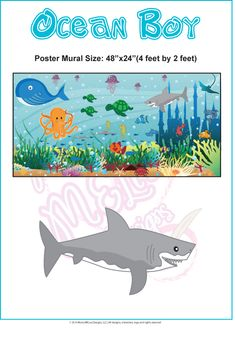 Our personalized and customized childrens wall murals are original and unique designs. The wall murals are 24 2 ft. Ocean Bedroom, Kids Bedroom, Bedroom Ideas, Childrens Wall Murals, Murals For Kids, Ocean Mural, Ocean Art, Sea World, Kid Spaces