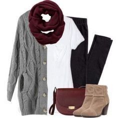#fall #outfit / Burgundy Scarf + Grey Knit Cardigan