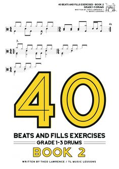 PDF Ebook Buy Now → First 8 pages are free if you click 'preview'.   This book contains drum beats and drum fills in the styles of pop, rock, blues, musical theatre, jazz, heavy metal, hard rock, punk rock, and indie, as well as covering fundamental techniques such as stepped hi hat, open hi hats, […] The post 40 Beats and Fills Exercises Book 2 appeared first on Learn Drums For Free. Drum Sheet Music, Drums Sheet, Drum Lessons, Music Lessons, Learn Drums, Drums Beats, Skip Beat, Exercise Book, Hard Rock