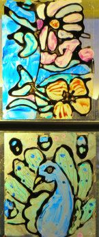 stained glass craft for kids using paint on plastic (France) - from art lessons.  Use the sheets from the clear color book.