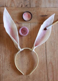 No sew felt bunny ears. Mia would freak out! I'd have to put red bows on the tips :)