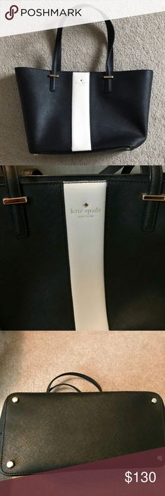 Kate Spade handbag Timeless black leather Kate Spade handbag with an off white strip down the front. Used only a handful of times. In near perfect condition. Gold accents have no scratches, leather has no stains or scratches. Can fit a small laptop, folder, and/or notebook, depending on size. kate spade Bags