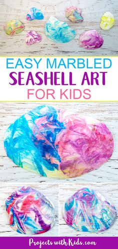 This seashell art is so fun and easy, kids will love creating gorgeous marbled seashells with their beach treasures. The patterns are so colorful and gorgeous! This summer craft will have kids engaged, using their creativity and having fun. #projectswithkids #kidscraft #shellcraft #beachcraft #summercraft