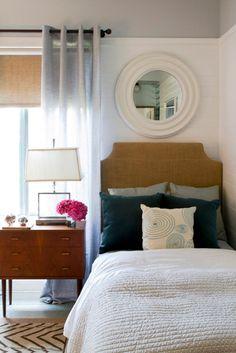 Burlap Headboard - contemporary bedroom by Erika Bierman Photography Bedroom Nook, Home Bedroom, Master Bedroom, Bedroom Decor, Bedroom Ideas, Bed Room, Bedroom Inspiration, Bedroom Photos, Bedroom Colors
