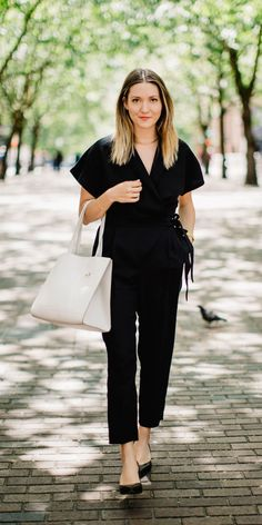 Our black menswear inspired tuxedo jumpsuit is the perfect effortlessly chic date night look, no matter where your date may take place | Banana Republic