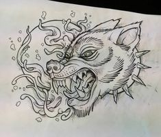 Angry wolf/dog fella. #drawing #tattoo #design #neotrad #neotraditonal #newtraditional #traditional #wolf #dog #moon #oldlines #flash #flashworkers #fullmoon #flashtattoo