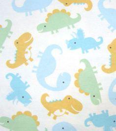 Snuggle Flannel Fabric Happy Dinosaur
