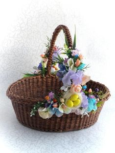 Easter wicker brown basket Easter eggs basket Wicker oval basket with handle Rustic wedding basket Easter decor Basket with flower decor Easter Egg Basket, Easter Eggs, Wicker Tray, Wicker Baskets, Basket Weaving, Hand Weaving, Flower Baskets, Dollar Tree Crafts, Basket Decoration