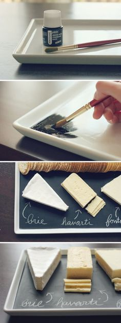 """pr3ciousbb:    craftyspice:    DIY Chalkboard Serving Platter     Using the technique for chalkboard paint on the blog """"attempting aloha"""", you can paint trays for snacks in any color of your choice(as long as your chalk color shows up) and title any food. You can also use this technique for table numbers. The best part is, you don't have to buy a tiny jar of ceramic chalkboard paint on Dickblick(art supply site) and ruin any trays. This method can be used on wood and glass. (cheap)"""