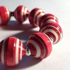 Paper Bead Bracelet wish hand painted striped beads   #paperbeads #petuniaswhimsy #etsy