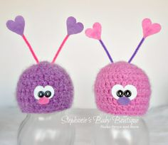Crochet Baby Love Bug Hat, Custom Made, Newborn, 0-3, 3-6 Months Beanie, Photo Prop, Photography Prop, Baby Shower Gift, Valentine, Easter