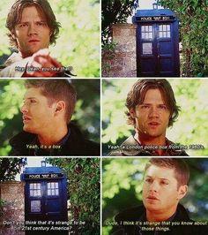 Sam and Dean meet The TARDIS