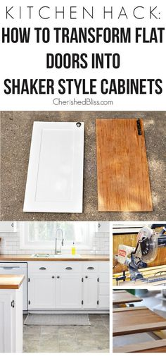 Home Decor Ideas Rustic With this Kitchen Hack you will be able to transform your flat doors into shaker style cabinets.Home Decor Ideas Rustic With this Kitchen Hack you will be able to transform your flat doors into shaker style cabinets. Kitchen Ikea, Diy Kitchen Cabinets, Kitchen Cabinet Doors, Kitchen Redo, New Kitchen, Kitchen White, Diy Kitchen Makeover, Wooden Kitchen, Shaker Kitchen Diy